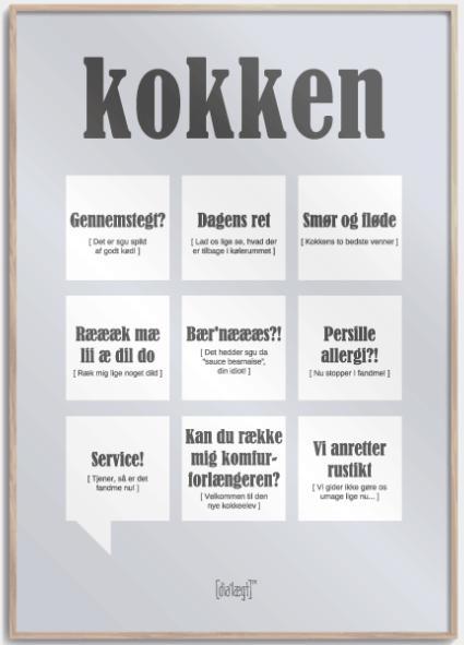 Svendegaver » plakat til kokkesvend