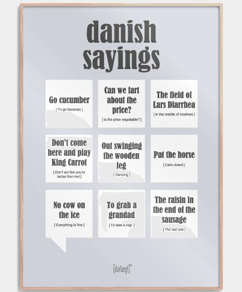 Typisk dansk gave » danish sayings plakat dansk gave