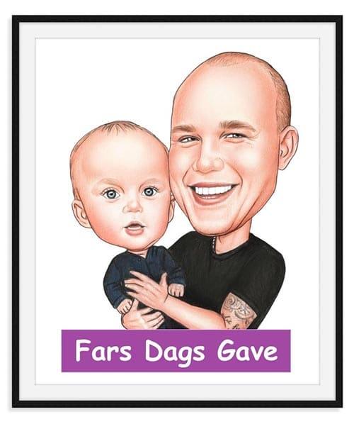 Fars Dags Gave - Karikaturtegning Efter Dine Fotos